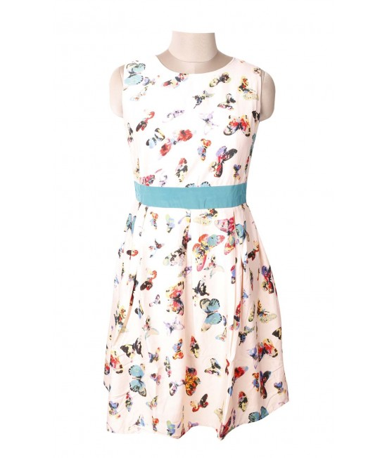 women colorful butterfly print dress