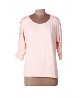women peach lace top
