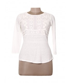women casual white embroidered top