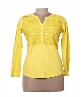 women yellow lace top