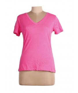 women solid pink top