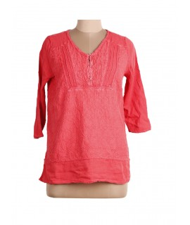 women peach embroidered top