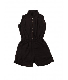 women solid short jumpsuit