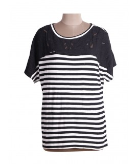 Women cut work & stripe top