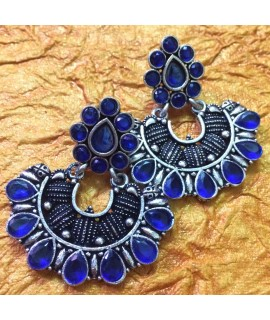 Blue Metal Stone Earrings