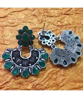 Green Metal Stone Earrings