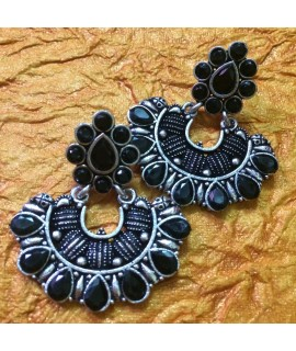 Black Metal Stone Earrings