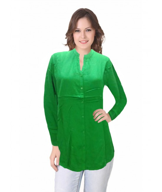 women solid green shirt